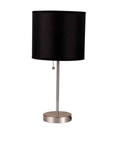 ORE International Brushed Steel Table, Black