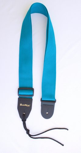 Guitar Strap Turquoise Nylon With Solid Leather Ends & Heavy Duty Tie Lacefor Acoustic Electric Or Bass High Quality Made In U.S.A. Fast Handling & Shipping