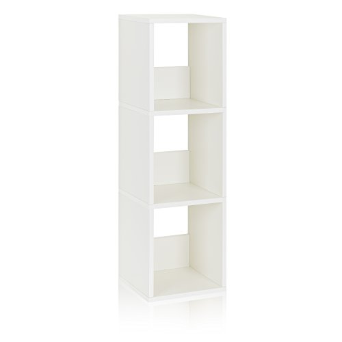 Way Basics Eco 3 Shelf Trio Narrow Bookcase and Storage Shelf, White (made from sustainable non-toxic zBoard paperboard)