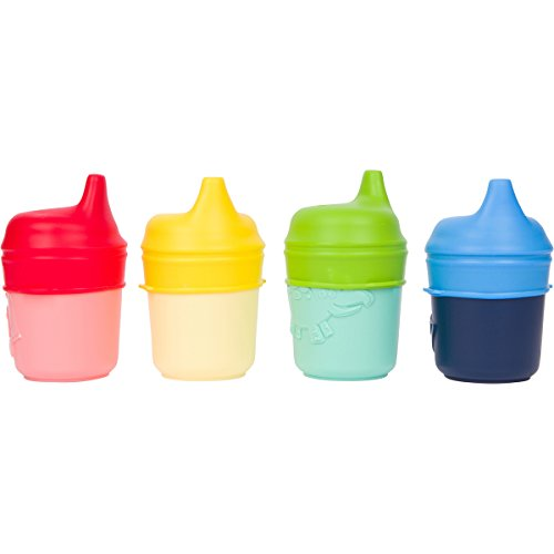 Healthy Sprouts Silicone Sippy Lids (4 Pack) - Make Any Cup a Sippy Cup! (Red, Yellow, Green, Blue)