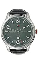 Tommy Hilfiger Gray Dial Black Leather Mens Watch 1710314