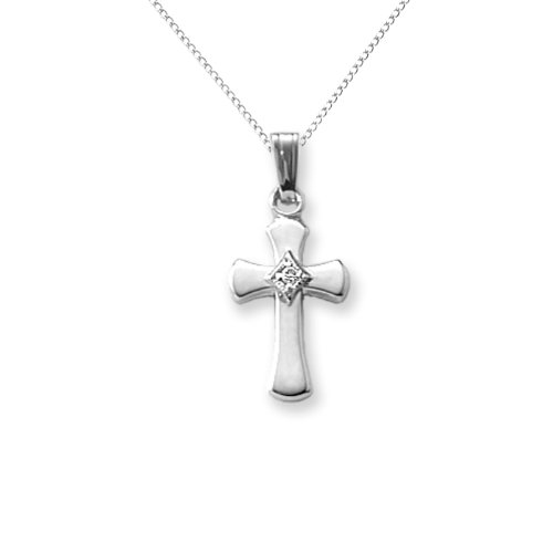 Imagen de Sterling Silver Infancia Diamond Cross Necklace Pendant, 15