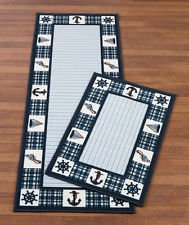 Nautical Anchor Blue Plaid Rug Set of 2 Accent Rug and Runner