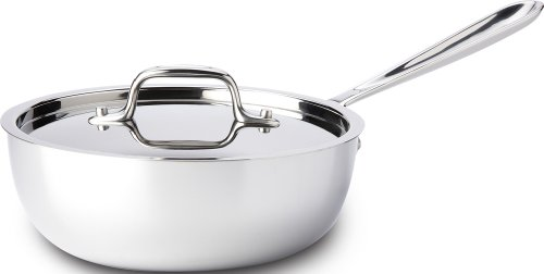 All-Clad 4212 Stainless Steel Tri-Ply Bonded Dishwasher Safe Saucier Pan with Lid / Cookware, 2-Quart, Silver