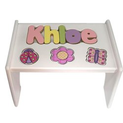 Personalized Garden Wooden Puzzle Stool- Stool Color: White, Letter Color: Pastel, 9-12 Letters