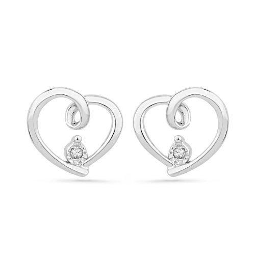 Platinum Plated Sterling Silver Round Diamond Fashion Earrings (0.02 Cttw)