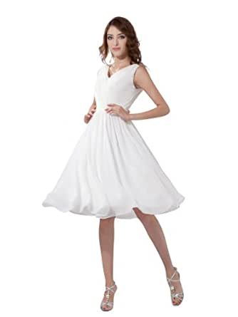 Topwedding Chiffon V Neck Knee Length Homecoming Dress,Purple,S6