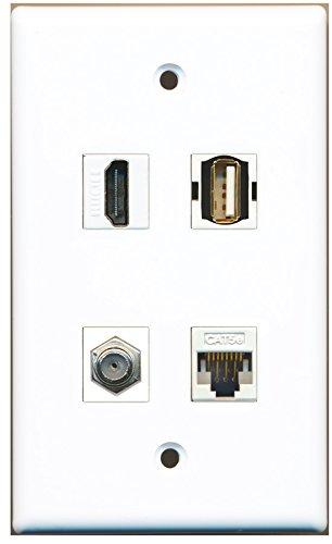 Riteav - 1 Port Hdmi 1 Port Coax Cable Tv- F-Type 1 Port Usb A-A 1 Port Cat5E Ethernet White Wall Plate