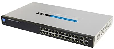 Cisco SLM224P 24-port 10/100 + 2-port 10/100/1000 Gigabit Smart Switch with 2 Combo SFPs and PoE