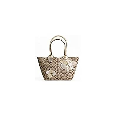 Coach Signature Bleecker Flower Floral Applique Shopper Bag Tote 16276 Khaki