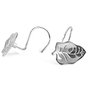 Silver Leaves Shower Curtain Hook Set Of 12 Shower Curtain Decorative Hooks