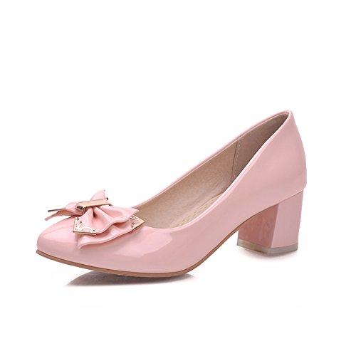 Spesso con scarpe femminili/Shallow bocca fiocco in vernice scarpe a punta/Scarpe-A Lunghezza piede=23.3CM(9.2Inch)