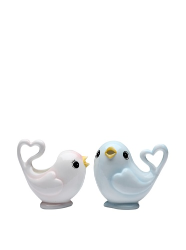 Appletree Design White Bird with Touch of Pink and Blue Bird Sugar and Creamer Set, 3-3/8-Inch, 3-3/8-Inch