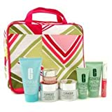 Clinique Travel Set: Scrub + Liquid Soap + Day Cream + Night Cream + Eye Cream + Body Cream + Lipgloss + Bag - 7pcs+1bag