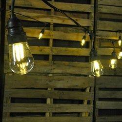 commercial led filament edison string lights 10 amber bulbs black. Black Bedroom Furniture Sets. Home Design Ideas