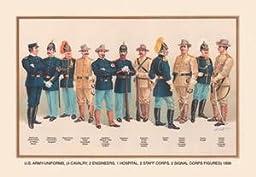 30 x 20 Canvas. Uniforms (4 Cavalry, 2 Engineers, 1 Hospital, 2 Staff, 2 Signal Corps), 1899