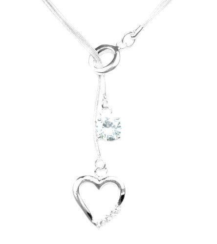 925 Sterling Silver Toned Heart & Crystal Lariat Necklace
