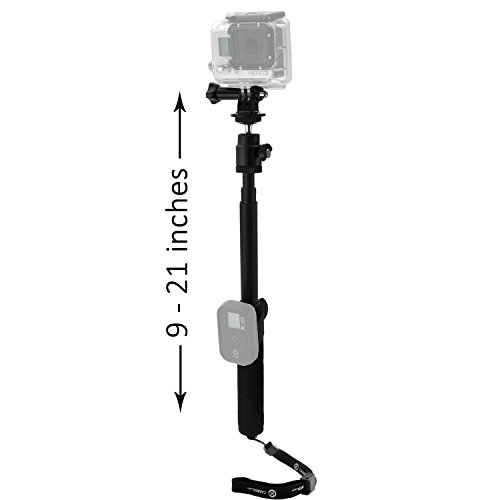 "Gopro Pole By Camkix - Adjustable Telescopic Pole With Wifi Remote Strap Attachments - 9"" To 21"" Extension - 'Twist And Lock' Easy Extension And Retraction - Tripod Mount Suitable For Gopro Hero 1, 2, 3, 3+, 4 And Other Cameras - 1 Wifi Remote Strap / 1 W"