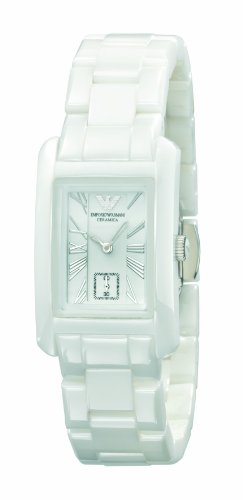 Emporio Armani AR1409 Ladies White Ceramic Rectangle White Dial Watch