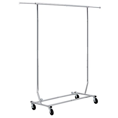 SONGMICS Commercial Grade Rolling Garment Rack Collapsible Heavy-Duty Clothing Hanging Rack on Lockable Wheels Chrome Finish ULLR11C (Heavy Duty Rolling Garment Rack compare prices)