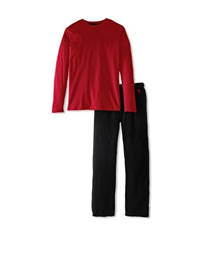 U.S. POLO ASSN. Men's Jersey Crew and Microfleece Pant Pajama Gift Set