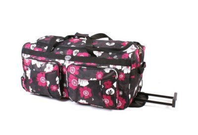 "Womens Girls, 26"" Black With multi Flowers Holdall Travel Luggage (Weekend Bag, Maternity Bag, Hospital Bag, Gym Bag, Baby Bag, Sports bag)"