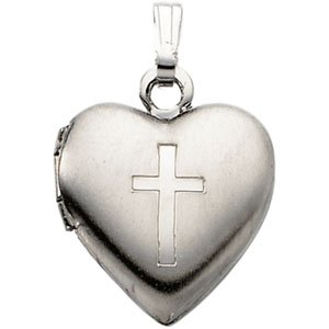 Genuine IceCarats Designer Jewelry Gift Sterling Silver Heart Locket With Cross. 15.50 X 13.00 Heart Locket With Cross In Sterling Silver