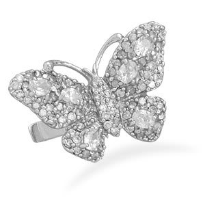 Sterling Silver Rhodium Plated Pave CZ Butterfly Ring / Size 7