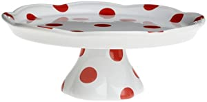 Rosanna Red Dots Pedestal Cake Stand, Gift-boxed