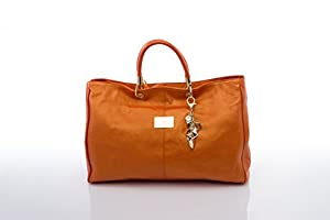 Luxury Super Soft Leather Diaper Bag (Melbourne) in Metallic Orange Including Wipe-free Inner, Changing Pad, Stroller Straps, Bottle Tote, Wet Pack and Key Ring By Nova Harley by Nova Harley
