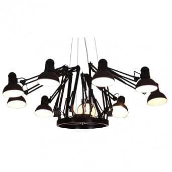 haute qualit 9 lampes contemporain araign e lustre suspension plafonnier black. Black Bedroom Furniture Sets. Home Design Ideas