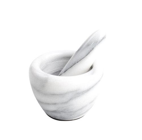 T&G Marble Art Pestle and Mortar in White Marble - Mini