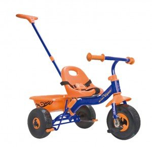 Kinder-Dreirad für Kinder ab 2 Jahre blau/orange mit Lenk- u.Schiebestange