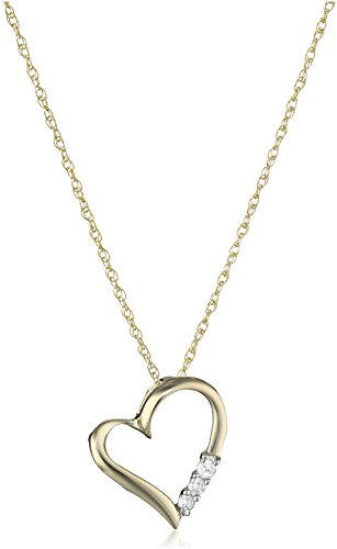 10k Yellow Gold and Diamond 3-Stone Heart Pendant Necklace (1/10 cttw, I-J Color, I2-I3 Clarity), 18""