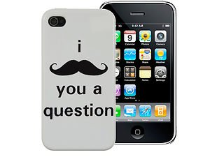 Coque blanche iPhone4/4s I moustache you a question