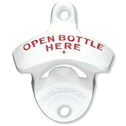 White Open Bottle Here STARR X Wall Mounted Bottle Opener