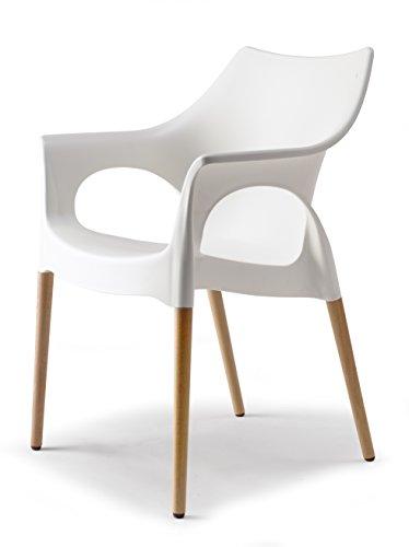 Scab Natural Ola Lounge Stuhl Kunststoff mit Holzbeine