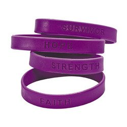 100 Purple Silicone Pancreatic Cancer Awareness Bracelets