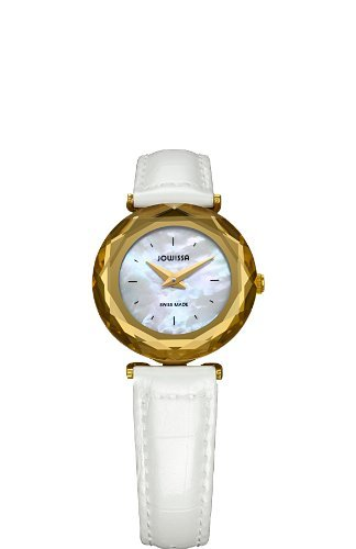 Jowissa Women's J1.003.S Safira 99 Gold Colored Bezel Mother-of-Pearl Leather Slim Watch