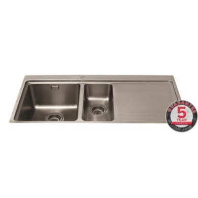 cda-kvf22rss-designer-one-and-a-half-bowl-sink-flush-fit-right-hand-drainer