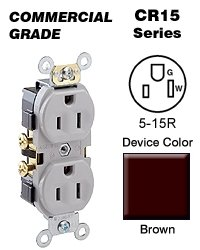 Leviton 5-15R Duplex Receptacle Commercial - Brown CR15 (Box of 10)