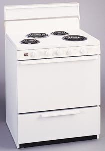"30"" Deluxe Electric Range w/ Standard Clean Oven Solid Oven Door & 4"" Porcelain Backguard: White On"
