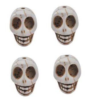 White Magnesite Dyed Gemstone Beads Carved Skull Beads, 24 X 21 X 18mm (4 Per Set)