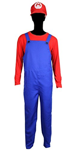 Super Mario Brothers Deluxe Outfit Adult Costume Jumpsuit Hat Shirt