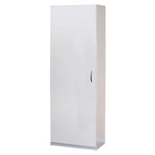 Tall White 24 In. Wide Laminate Cabinet, Flat Panel Reversible Door with 2 Fixed and 2 Adjustable Shelves for Versatile Storage Options (Tall Wood Cabinet With Shelves compare prices)