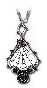▼デスティニー・ペンダント●蜘蛛の巣の張り巡らされた鏡が目を惹くゴシックなペンダントです。下部には薔薇の花びら、その左右には髑髏、上部には紫色の石が嵌め込まれ、妖しさの中に高貴な雰囲気を醸し出しています