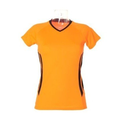 Gamegear® Cooltex Damen Kurzarm Training T-Shirt (38) (Orange/Schwarz)