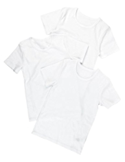 3 Pack Pure Cotton Plain Short Sleeve Vests