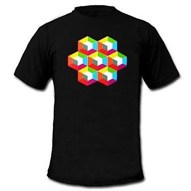 Gjy Mens Light Up T-Shirt Sound And Music Activated Equalizer Led El Velcro Panel Machine Washable Party Bar Raver Festival , Xl