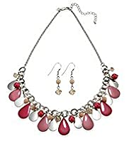 Assorted Bead Enamel Necklace & Earrings Set